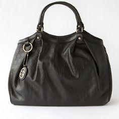 Gucci Large Sukey Handbag in Black Guccissima Leather