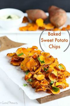 Crisp, delicious, salty baked sweet potato chips make the perfect healthy snack. Just 4 simple ingredients. Combine with this fresh dip. Paleo, Whole 30 approved. (Whole 30 Recipes Sweet Potato) Sweet Potato Chips, Sweet Potato Recipes, Paleo Recipes, Cooking Recipes, Free Recipes, Dessert Recipes, Healthy Snacks, Healthy Eating, Healthy Cleanse