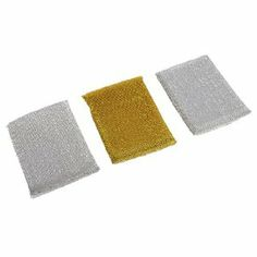 """Amico 3 Pcs Rectangle Metallic Thread Design Scrub Cleaning Sponge Pad by Amico. $3.86. Product Name : Scrub Sponge Cleaning Pad;Usable : for Cleaning Dish, Bowl, Pot etc.. Package Content : 3 x Scrub Cleaning Pads. Each Size : 12.5 x 8.5 x 1.5cm/ 5"""" x 3.3"""" x 0.6"""" (L*W*T);Material : Sponge, Metallic Thread. Weight : 28g. Color : Silver Tone, Gold Tone. This Cleaning pad is constructed of metallis thread inlaid and spong filled, ideal for bowls and dished cleaning use. Good water..."""