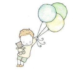 dessin simple a fildeferer, sans les ballon ou doudou, pas dans le theme fashion rebelle - Flyboy  Children's Art 8X10 Print by trafalgarssquare on Etsy, $10.00