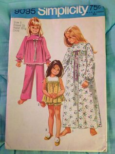badcfe160f9f Vintage simplicity 9095 Sewing Pattern Girls Nightgown and Pajamas Size 6