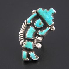 1940s-1950s ZUNI STERLING SILVER & TURQUOISE INLAY RAINBOW MAN RING $45.00 Buy it Now