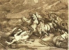 Hippolytus lying dead in his chariot on the sea shore, thrown to the ground with his right fist clenched above his head, four frightened horses rearing in the surf and pawing the air, Triton and a sea monster (a horse with fins and a fish tail) at far right, choppy sea beyond; after Peter Paul Rubens; unfinished state with scratched engraver's name only.  Etching