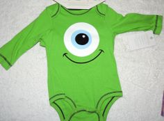 NEW Unisex Baby Disney Monsters Inc Mike One Piece & Hat Baby Shower Gift