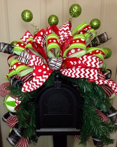 Whimsical Mailbox Swag by WilliamsFloral on Etsy Christmas Wreath Image, Christmas Swags, Christmas Door, Outdoor Christmas Decorations, Winter Christmas, All Things Christmas, Christmas Holidays, Diy Mailbox, Mailbox Ideas