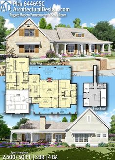 Plan Rugged Modern Farmhouse with Bonus Room - Architecture Narrow House Plans, New House Plans, Dream House Plans, House Floor Plans, Dream Houses, Farmhouse Plans, Modern Farmhouse, Farmhouse Style, Farmhouse Bedrooms