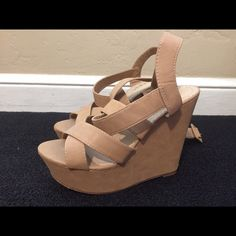 Tan wedges. Lightly worn. Tan wedges w/ straps. Size 7. 7/10. ⭐️ Shoes Wedges