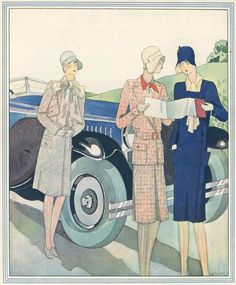colour illustrations showing new styles in travel wear. From Britannia and Eve August 1929.