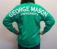 George Mason University Spirit Football Jerseys now available in Emerald with white print! So very pretty!
