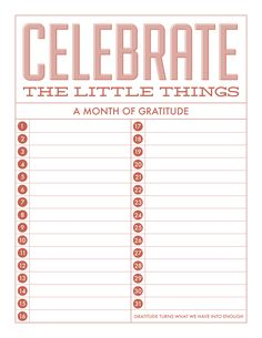 Free Celebrate The Little Things Gratitude Printable