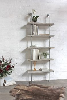 Reclaimed White-washed Scaffolding Boards and Galvanised Steel Pipe Shelving/Bookcase - Its salvaged vintage industrial design works perfectly in a sophisticated, casual living space. This unit is wide, tall and deep (the shelves themselves are deep and Galvanized Pipe Shelves, Galvanized Steel Pipe, Industrial Shelving, Industrial Furniture, Pipe Shelving, Vintage Industrial, Industrial Design, Industrial Pipe, Urban Industrial