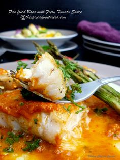 Pan Fried Basa with Fiery Tomato  Sauce And Grilled Asparagus