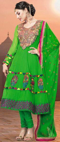 Parrot #Green Net #Churidar Kameez @ $141.05