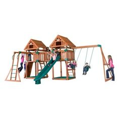 Backyard Discovery Kings Peak All Cedar Expandable Residential Wood Playset with Swings