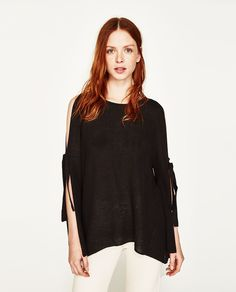 OFF-THE-SHOULDER SWEATER WITH BOW-NEW IN-WOMAN | ZARA United States