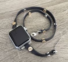 Two Toned Leather Bracelet for Apple Watch Handmade Black Multi Wrap Rivets Wristband Apple Watch Band Fashion Apple Watch Jewelry Bracelet