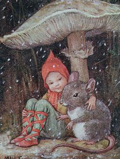 Margaret W. Tarrant: Fairy & Mouse Under A Mushroom, Vintage Christmas Card, Art And Illustration, Book Illustrations, Fantasy Kunst, Fantasy Art, Flower Fairies, Fairy Art, Magical Creatures, Woodland Creatures, Gnomes