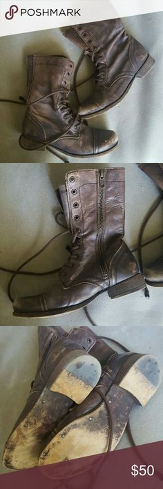 Allsaints Leather lace up boots Vintage Allsaints Spitalfields brown leather lace up boots with side zipper and 1 inch heel. Awesomely distressed chocolate brown leather, sole and boot interior in great condition, these weren't worn much, from a 2012 collection. Size EU 37, fits 6.5, 7. All Saints Shoes Lace Up Boots