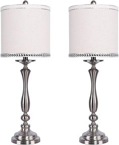 Balustrade Design and Natural Linen Shades with Silver Silk-Edged Chrome Nailhead Trim - Glam Lighting for Any Room (Set of Metal Table Lamps, Table Lamp Sets, Glam Master Bedroom, Balustrade Design, Nailhead Trim, Drum Shade, Room Set, Natural Linen, Brushed Nickel