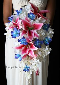 Impressive Blue Orchid and Stargazer Wedding Bouquet