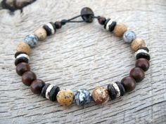 Mens bracelet, jasper, coconut shell, metal and wood beads, tribal surfer style, natural beads, strong cord, beaded bracelet, one of a kind