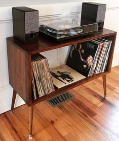 Mid-Century Modern Retro Record Player Console Table Stand Home Hub audio rooms ideas console MidCentury midcenturymodernoffice Modern Player Record Retro stand Table Record Player Console, Retro Record Player, Record Cabinet, Record Players, Record Shelf, Living Room Remodel, Apartment Living, Living Room Decor, Apartment Hacks