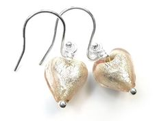 Murano Glass Tiny Heart Earrings - Champagne Heart Earrings, Drop Earrings, Tiny Heart, Murano Glass, Pale Pink, Sterling Silver Earrings, Champagne, White Gold, Heart Pendants
