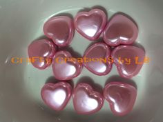 Ten (10) 25mm pink pearl heart bubblegum/chunky beads by CraftyCreationsByLB on Etsy