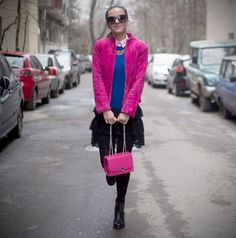 OOTD: Mix them up and spread some fuchsia love My Outfit, Bomber Jacket, Ootd, Jackets, Outfits, Fashion, Down Jackets, Moda, Suits