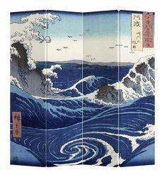 Oosterse Kamerscherm 4 Panelen Kanagawa Nami Canvas - Orientique.nl - Asian Living