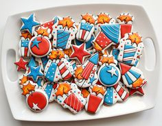 Fourth of July Firework Cookies by SweetSugarBelle, via Flickr