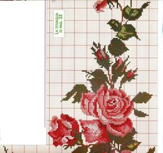 This Pin was discovered by Özl Cute Cross Stitch, Cross Stitch Rose, Cross Stitch Borders, Cross Stitch Flowers, Cross Stitch Charts, Cross Stitch Embroidery, Embroidery Patterns, Hand Embroidery, Cross Stitch Patterns