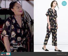 Rainbow's floral jumpsuit on Black-ish.  Outfit Details: http://wornontv.net/48527/ #Blackish