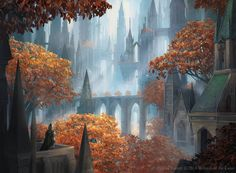 Pause for Reflection from Magic: The Gathering GRN by Alayna on DeviantArt Fantasy City, Fantasy Castle, Fantasy Places, Fantasy World, Fantasy Rpg, Fantasy Art Landscapes, Fantasy Landscape, Mtg Art, Cities