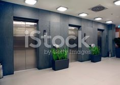 modern office building and elevators royalty-free stock photo