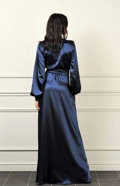 Silk Satin Dress, Blue Silk Dress, Blue Satin, Satin Dresses, Blue Dresses, Casual Dresses, Fashion Dresses, Silk Kimono, Neck Deep