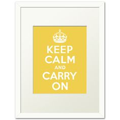 Keep Calm And Carry On FRAMED PRINT mustard by keepcalmcollection, $33.00