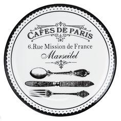 Mobexpert farfurie aperitiv, portelan, d.20 cm alb Cafes de paris
