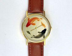 Japanese Koi Watch, Ladies Watch, Men's Watch, Vintage Fish, Unisex Watch, Modern, Geometric, Analog, Gift Idea