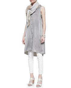 Silk Charmeuse V-Neck Dress,  Long Slim Camisole, Jacquard Skinny Ankle Jeans & Sparkle Striped Infinity Scarf by Eileen Fisher at Neiman Marcus.