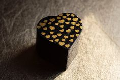Ooak - Rustic Style Black Heart Shaped Engagement Ring Box Whith Small Gold…
