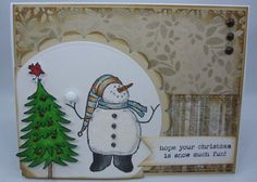 Christmas Snowman  Handmade Card by creationsbywendalyn on Etsy, $7.00