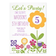 Cute Flower Garden Birthday Party Invitations