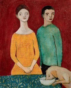 Les amoureux avec le chien: Brian Kershisnik: Giclee Print - Artful Home