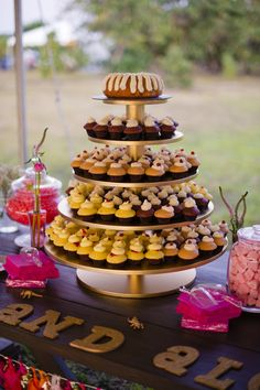 An incredible cupcake tower with glam yet rustic touches!   Minerva Photography