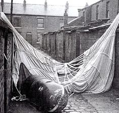 A German parachute mine that failed to detonate lying in a back street in Oldham, Lancs, during World War Two
