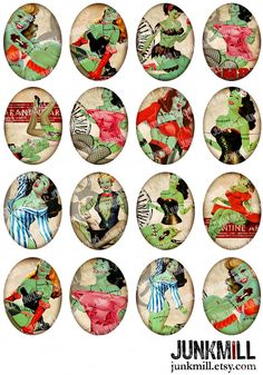 ZoMBIE PINUPS  Collage Sheet Retro Horror PinUp Girls by JUNKMILL, 30 mm x 40 mm.