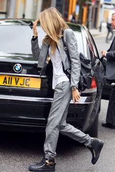 cara delevingne suit and sneakers