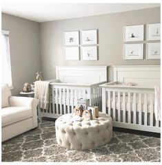 Small Twin Nursery, Twin Nursery Gender Neutral, Twin Baby Rooms, Nursery Twins, Baby Bedroom, Baby Boy Nurseries, Baby Room Decor, Nursery Ideas, Neutral Nurseries