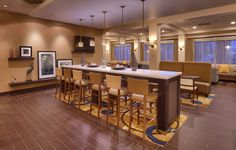 Recently completed renovation at the Hampton Inn in Salt Lake City. Looks fantastic.  #renovation #hotel #furniture #lobby #restaurant